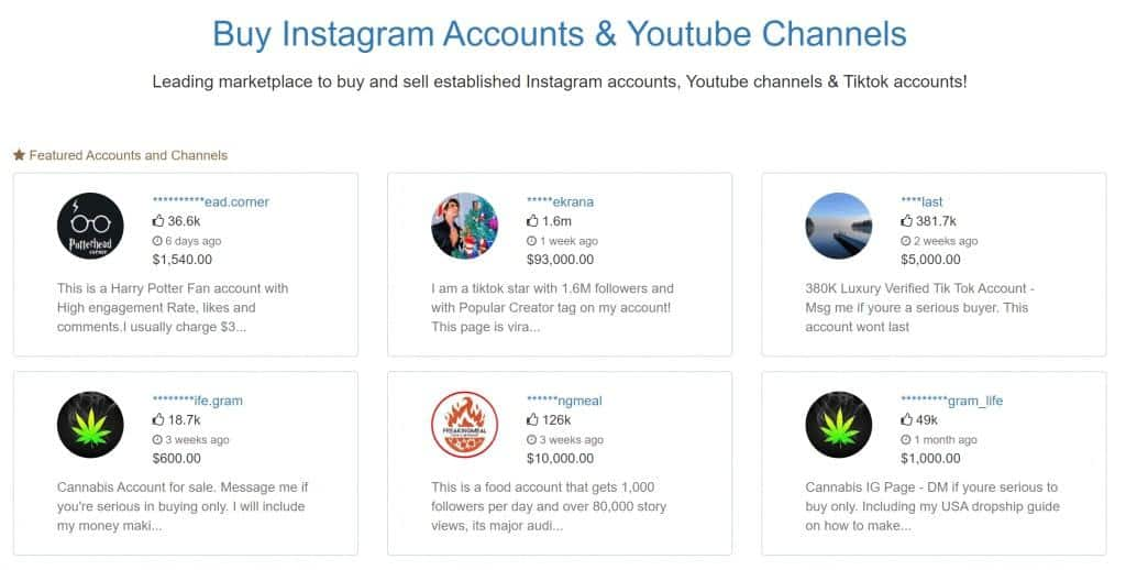 Buy instagram account and youtube channels
