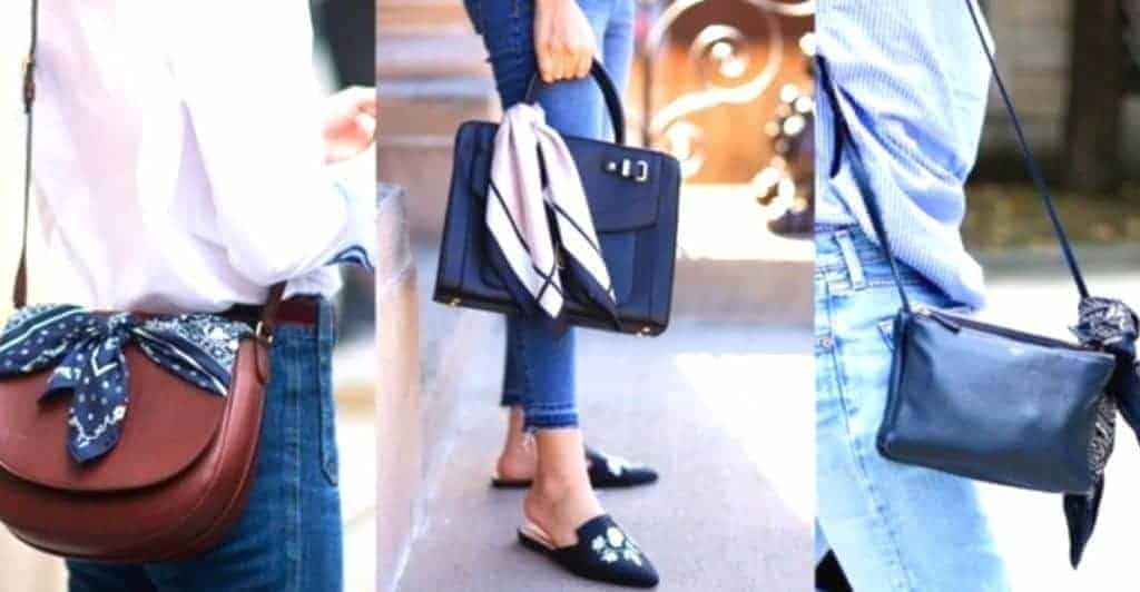 Decorate your bag with silk scarf to look classy