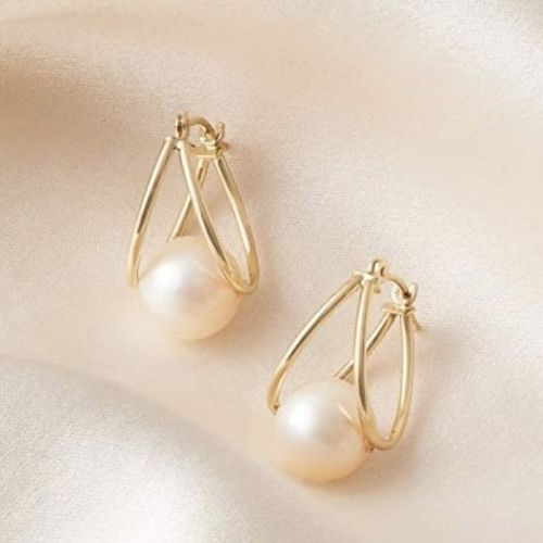 Cultured Pearl Double Hoop Earrings in 14 kt Yellow Gold