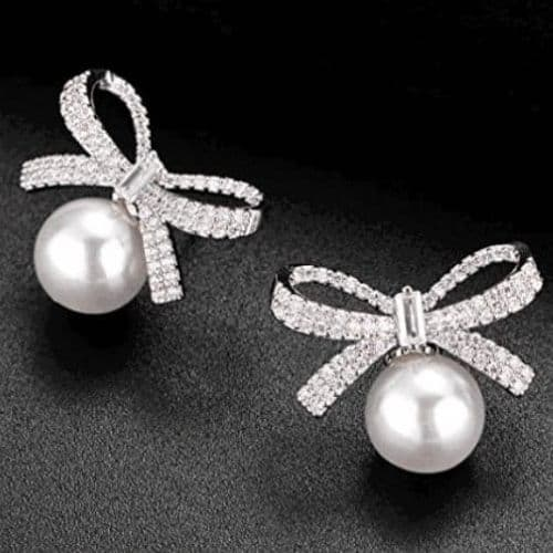 Silver Ribbon Bow Crystal Rhinestones White Pearl Stud Earrings