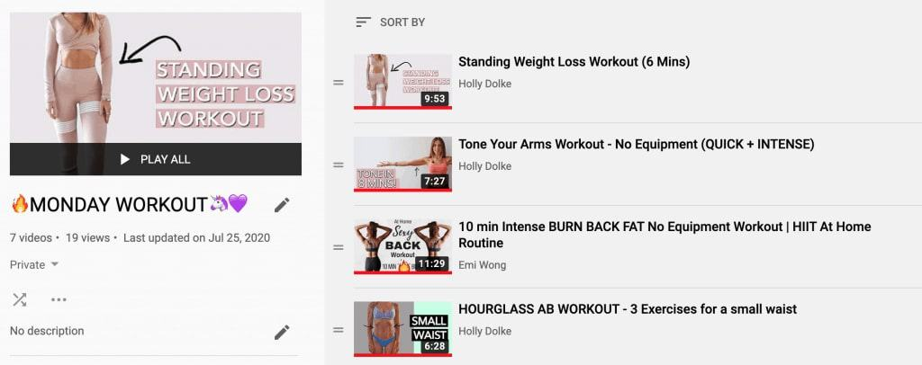 schedule youtube workout videos into playlist when bored
