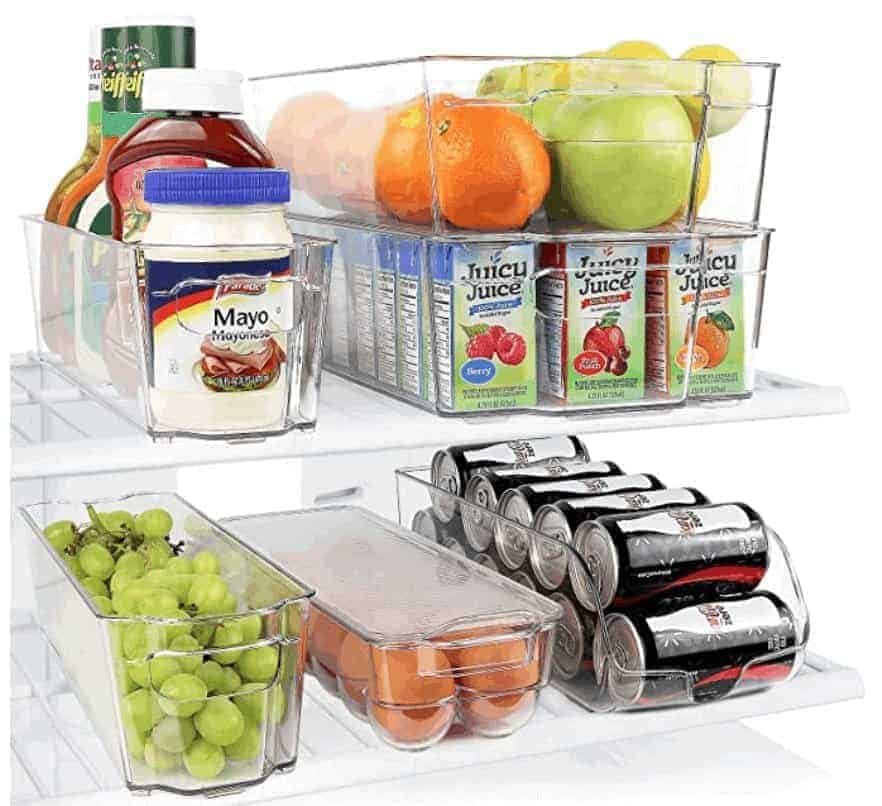 Stackable Storage Organizer Containers with Handles for Refrigerator
